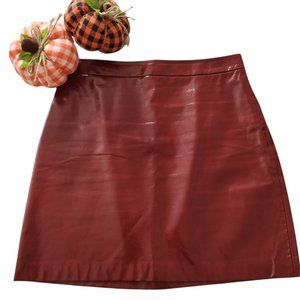 🍁Zara Basic Faux Glossy Leather Red Skirt